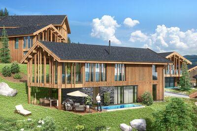 Chalet de luxe avec piscine et sauna, remontée mécanique à 500 m